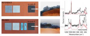 Fig. 2 Phase transition of blue vivianite to darker metavivianite in increased temperature (caused, e.g. by canvas relining)
