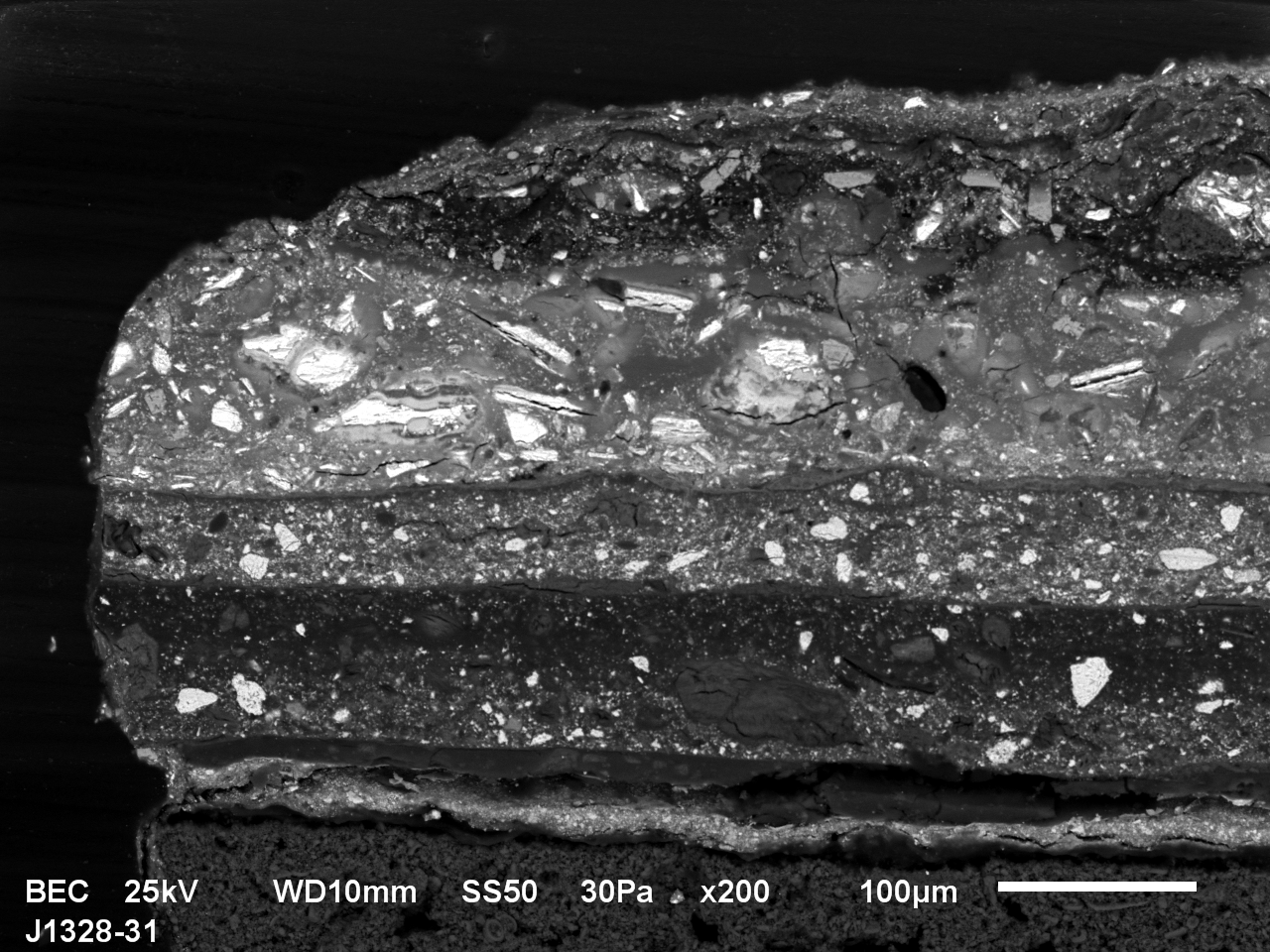 """Fig. 6 Cross-sectional view of the paint layers' sequence (""""stratigraphy"""") – back-scattered electrons (photo S. Švarcová)"""